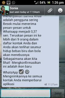 Pesan hoax WhatsApp