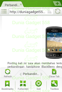 Menu pada Dolphin Browser Mini