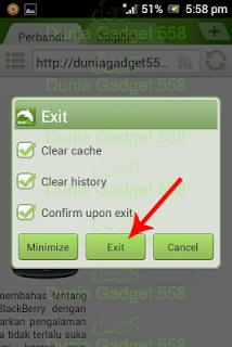 Menu exit pada Dolphin Browser Mini