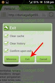 Menu exit pada Dolphin Browser Mini