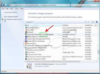 Uninstall program / software pada notebook Windows 7