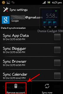 Menghapus akun email pada Android