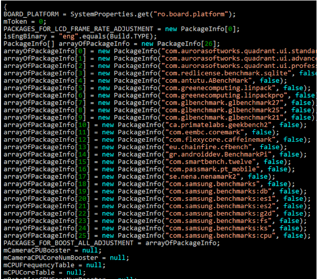 Nampak nama nama apps benchmark dalam kode