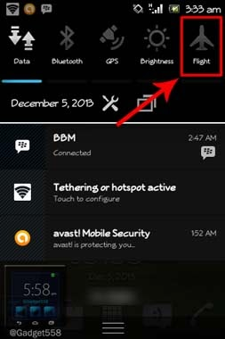 Airplane mode pada Android