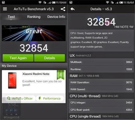 Benchmark Xiaomi Redmi Note Antutu