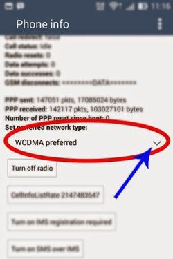 Memilih setting jaringan pada ASUS Zenfone