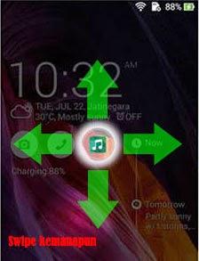 Menggunakan aplikasi di lockscreen