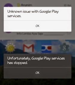 Unknown issue with googleplay services
