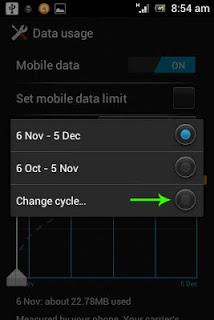 Data usage warning