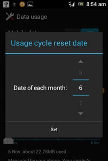 Mengatur tanggal penggunaan data