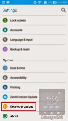 Letak opsi pengembang pada Android