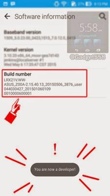Memunculkan menu USB debugging