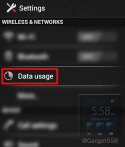 Data usage warning Android