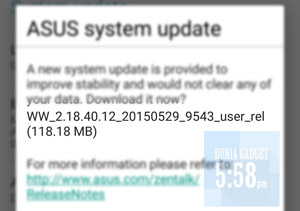 Update sistem Zenfone 2 versi 2.18