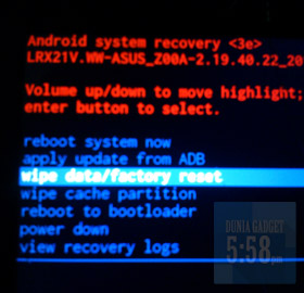 Wipe data ASUS Zenfone 2