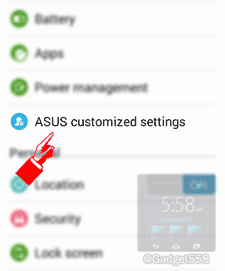 Setting screenshot asus zenfone