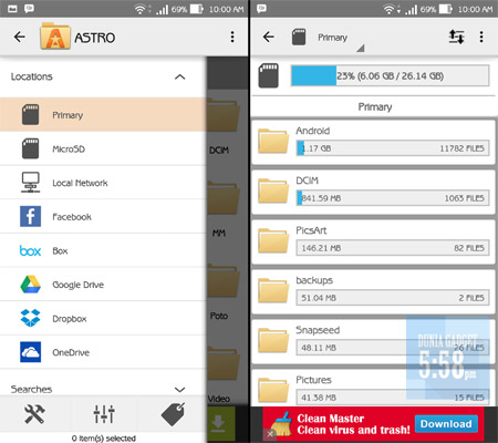 Tampilan ASTRO File Manager Android
