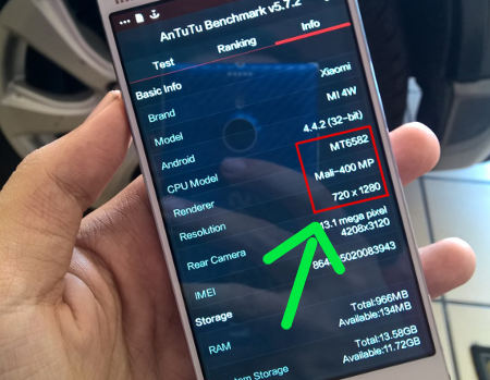 Prosesor milik Xiaomi Mi4 palsu
