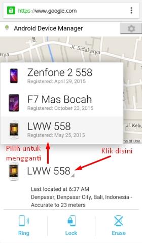 Melacak Android menggunakan hape