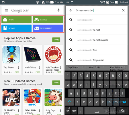 Memilih aplikasi pada perangkat Android