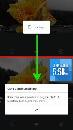 Tidak bisa upload foto di Instagram