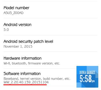 Mengecek versi firmware