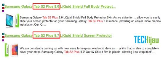 Varian Samsung Galaxy Tab S2 Plus Muncul