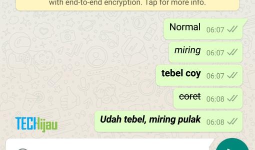 Membuat tulisan tebal dan miring pada WhatsApp