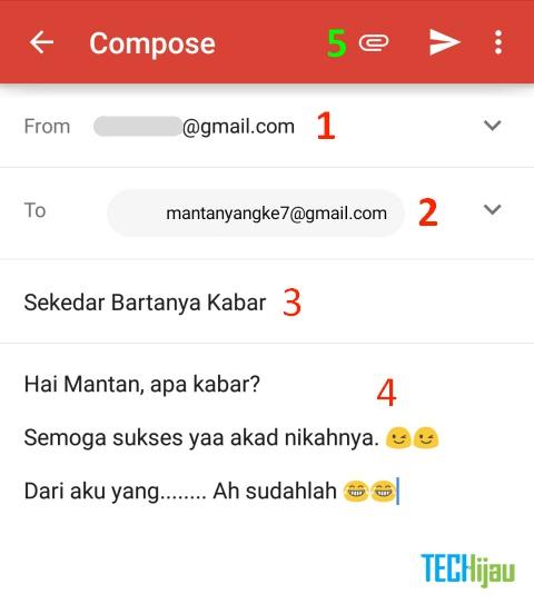 Menulis email di hape android
