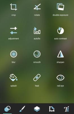 Fitur pada aplikasi Pixlr di Android
