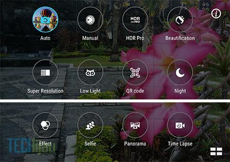 Pilihan mode pada kamera Zenfone 3 Max ZC553KL