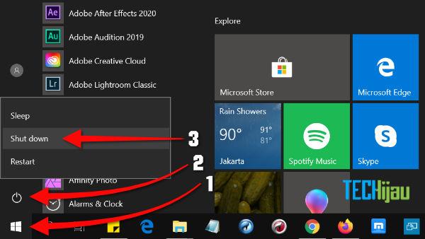 cara mematikan laptop untuk pemula