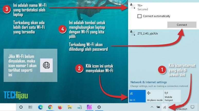 Caara internetan di laptop