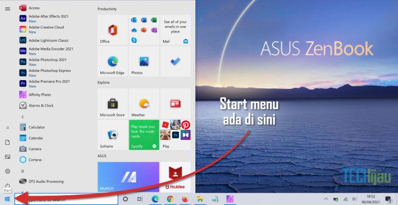 Start menu laptop
